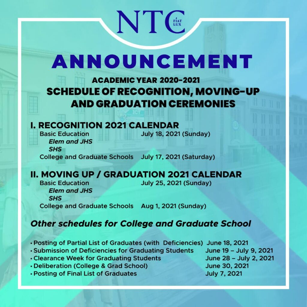 SCHEDULE OF RECOGNITION, MOVING-UP, AND GRADUATION CEREMONIES